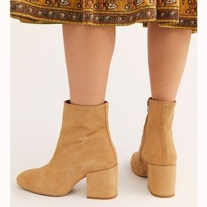 Free People Shoes - Free People Chic Reptile Embossed Suede Ankle Boot